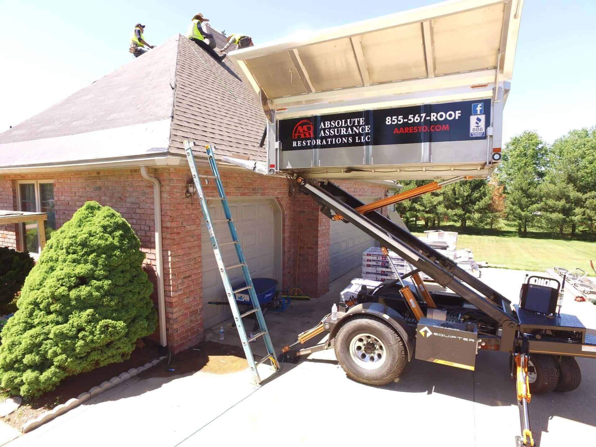 roofing contractor in mansfield ohio installing a new roof with equipter machine