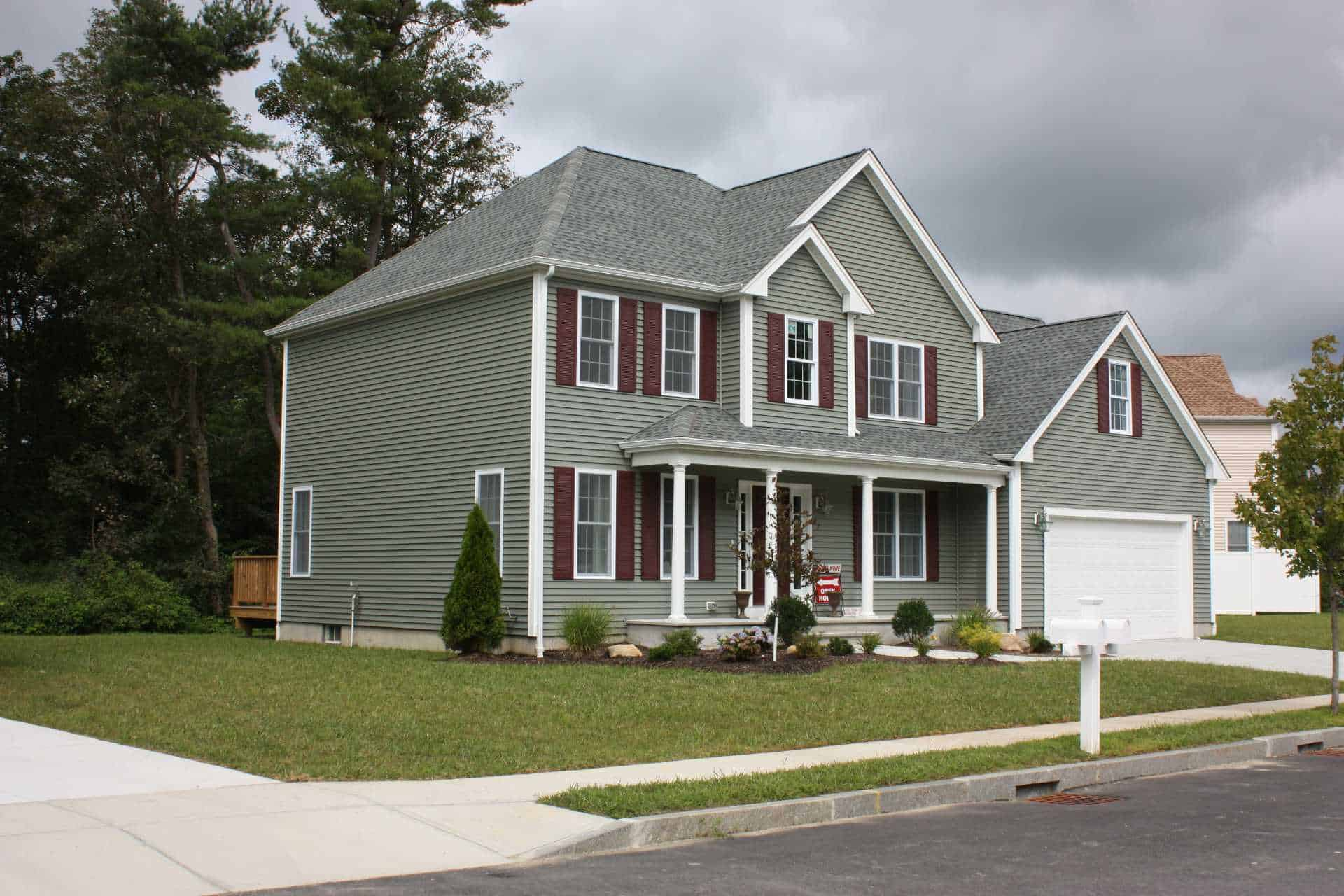 gray vinyl siding on two story home