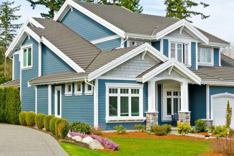 siding services central ohio home with blue siding