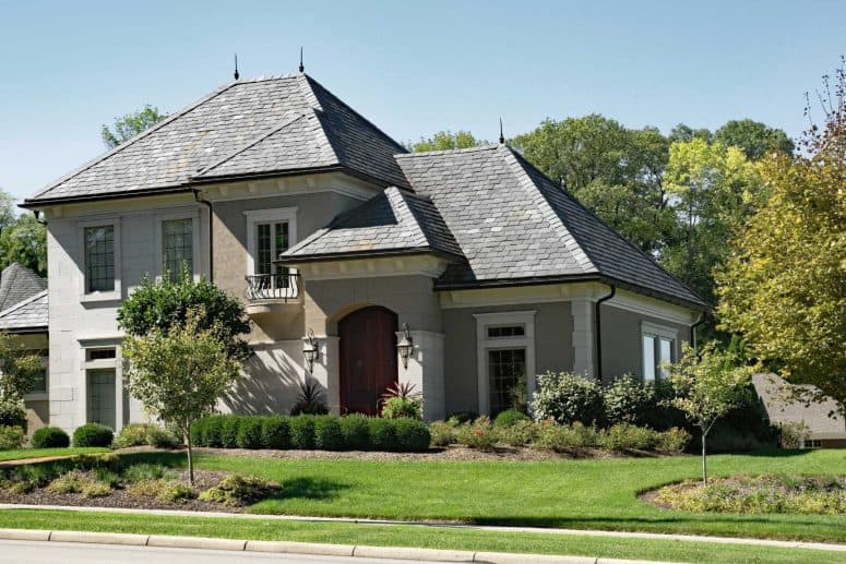 large gray house with slate roof
