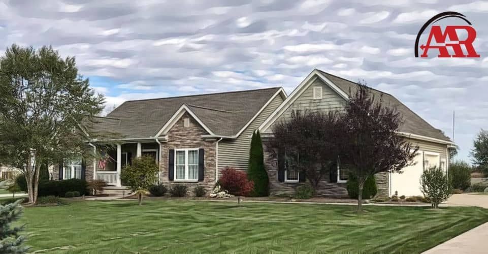 roofers near me mansfield ohio home with new shingle roof and gray vinyl siding