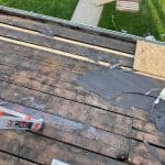 roof replacement sheathing after shingles were torn off